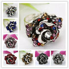 Adjustable Rhinestone Crystal Jewelry Flower Rose Cocktail Fashion Finger Ring