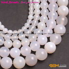 Jewelry Making  Natural round white smooth agate gemstone Loose beads strand 15""