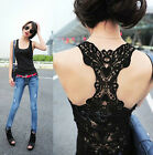 New Women's Sexy Lace Flower Tank Top Sexy Cami Sleeveless Casual Cotton