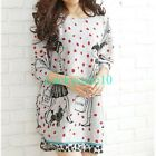 Women Polka Dots Girls Long Sleeve Casual Loose Sweater Knitted Blouse Tops L XL