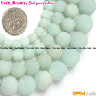 Round Frost Blue Pure Amazonite Gemstone Jewelry Making Loose Beads Strand 15""