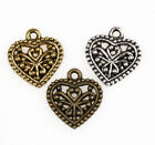 50Pcs Antique Silver/Gold/Bronze Heart Shaped Charms Pendants