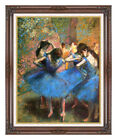 Framed Edgar Degas Reproduction Dancers in Blue Canvas Ballet Scene Art Print