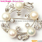 Finished Jewelry Fashion 40mm freshwater pearl white gold plated brooch