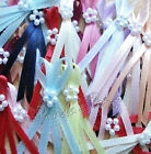 3mm Satin Ribbon Long Tail Double Bows with 5 Pearl Beads - Free P&P
