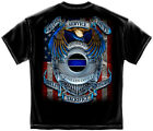 New Black T-Shirt with Eagle Badge & Flag  Fallen Officers Law Police  Design