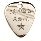 "Engraved Silver Plated 1mm ""My Dad is"" Guitar Plectrum Pick, Chain, Personalised"