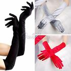"22"" Long Satin Stretch Gloves Above Elbow Bridal Prom Wedding Formal Party Color"