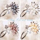 Jewelry 22x42mm freshwater pearl beads white gold plated frame Pin brooch