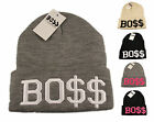 BO$$ Beanie Hat With Knitted Logo, Designer Black Logo Hats, Limited Edition