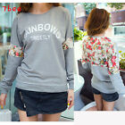 Korean Fashion Womens Floral Lace Hoody Casual Sweatshirt Shirt Blouse Tops