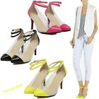 New Elegant Lady's Clear Suede Stiletto Ankle Strapped High Heels Sandal Shoes