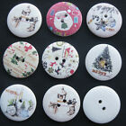 42pcs 30mm Wood Button Print Christmas 7 Styles Upick Sewing Crafts FT001