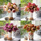 Artificial 1 Bouquet 8 Head Peony Silk Flower Leaf Home Wedding Party Decor
