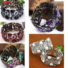 Fashion Vintage Bronze Rhinestone Resin Flower Faceted Beads Bracelet Bangle