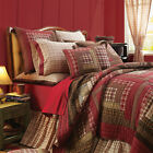 Red Rustic Log Cabin Plaid Twin Queen Cal King Size Lodge Quilt Bedding Bed Set