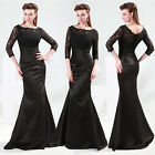 Vintage Satin Lace Cocktail Formal Prom Bridesmaid Gown Homecoming Evening Dress