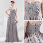 Stock Strapless Gray Chiffon Ball Gown Evening Prom Party Dress 2 4 6 8 10 12 14