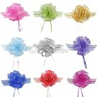 10 Organza 50mm Pull Bow Striped Ribbons Wedding Party Florist Pew Puff Gifts