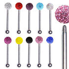 Crystal Glitter Gem Tongue Chin Bar Nipple Barbell Surgical Steel 1.6x12/14/16mm