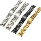Stainless Steel Band End Curved Bracelet Watch Strap Side Push Button Buckle New