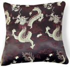 BL121a Light Gold Brown Flying Dragon Brown Rayon Brocade Pillow/Cushion Cover
