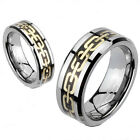 Tungsten Beveled Gold Chain Link Wedding Band or Couple Ring Size 5-13