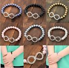 Infinity Faux Pearl Crystal Charm Beads Friendship Elastic Bracelet Bangle Gift