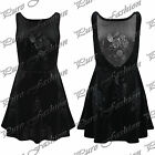 Womens Ladies Velour Velvet Sleeveless Back Cut Flared Franki Skater Dress Top