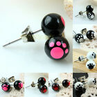 Dog Pup Puppy Paw Animal Footprint Ball Beads Stainless Steel Stud Ear Earrings