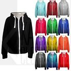 New Women Plain Hooded Zip Top Zipper Sweatshirt Jacket Coat