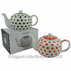 New Polka Dolt China TEA POT Collection Gift Boxed Present Retro Red or Black