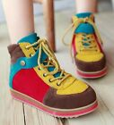 Womens Genuine Leather Multicolour Lace Up Casual Sneaker Trainers Shoes 668-8