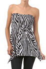 NEW WOMEN STRAPLESS ZEBRA TOP Smocked Bodice Animal Print Ruched Versatile S M L