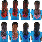 10*48CM Double Colors Curly Wavy Cosplay Ponytails Clip-in Hair Extensions AP23