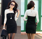 Women Sexy Slim Long Sleeve Evening Party Cocktail Lace Mini Dress