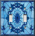 Light Switch Plate Cover - Art Nouveau - Stained Glass Pattern - Blue Home Decor
