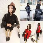 Women Casual Faux Leather Splicing Baseball Uniform Tops Eye Printed Hoody Coat