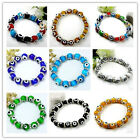 Womens Lampwork Glass Evil Eye Elastic Stretchy Spacer Bead Bangle Bracelet Cuff
