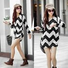 Hot sale Women Lady  Stripe Long Sleeve Casual Loose Sweater Knitted Blouse Tops