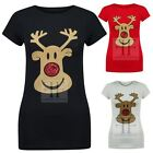 WOMENS LUREX NOSE RUDOLPH REINDEER FACE LADIES XMAS CHRISTMAS FIT TOP TEE TSHIRT