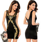 Lady Sexy Gold Foil Little Black Dress Bodycon Clubwear Cocktail Party Size M L