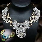 vintage antique jewellery gold gp rhinestone glass crystal clear green necklace