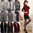 Womens Stylish Real Rabbit Fur Collar Neck Ball Long Warp Scarf Girl Scarf Shawl