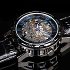 USA PACIFISTOR Police Design Mens Skeleton Mechanical Wrist Watch Black Leather