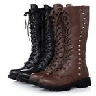 US5-8 Warm Lace Up Riding Tall Boots round toe ladiess shoes   [HA]