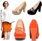 Womens Ladies Faux Suede Round Toe Slip On High Heel Court Shoes Plus Size B-9