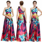 Floral Print Satin One Shoulder Full Length Evening Dress Lady Formal Gown 09623