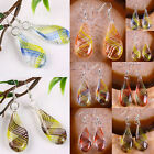 Clear Murano Lampwork Glass Swirl Stripe Banded Teardrop Dangle Hook Ear Earring