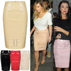 WOMENS SHINY PVC WETLOOK BACK ZIP LADIES BODYCON OFFICE PARTY CELEB PENCIL SKIRT
